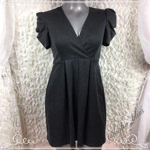 ENFOCUS STUDIO | Puff Sleeve Dark Gray Dress